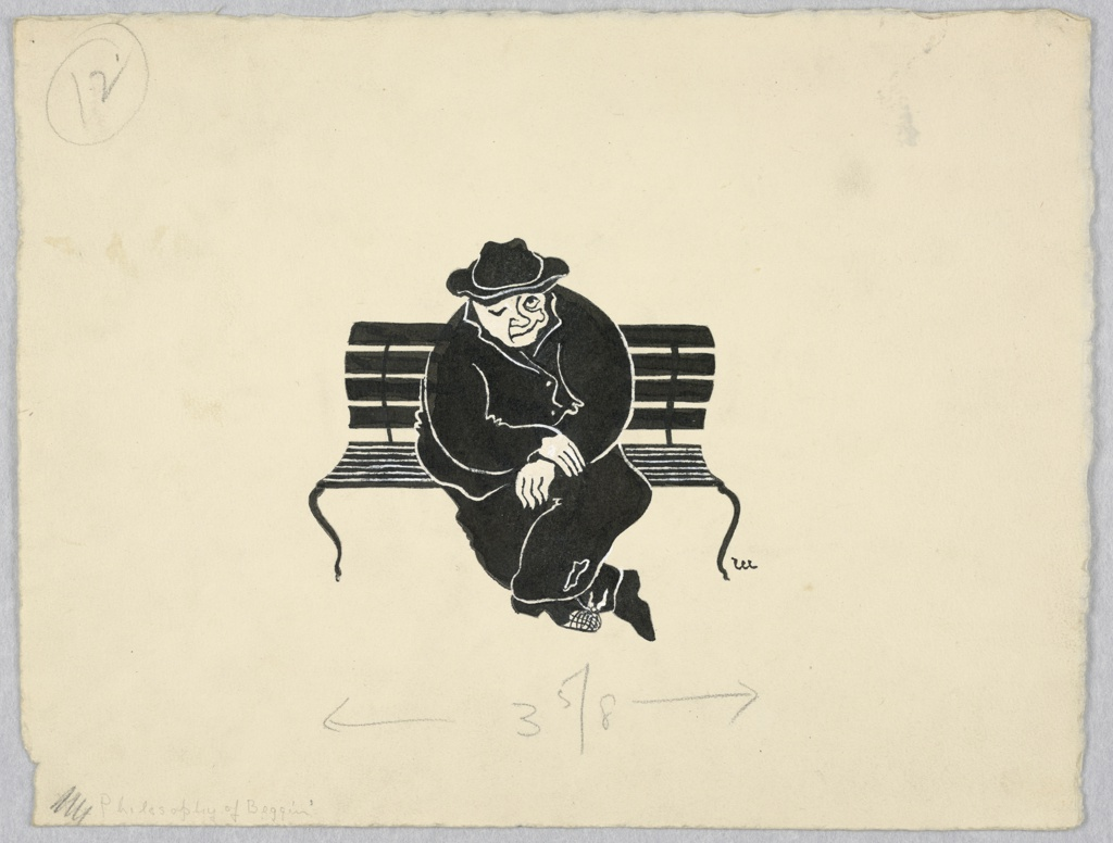 Drawing Man Seated On Park Bench 1945 50 Objects Collection