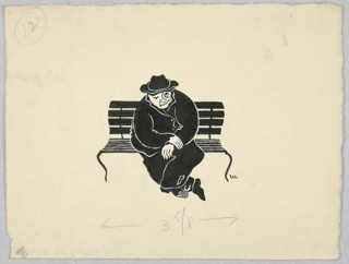 Horizontal rectangle. Man in wrinkled black clothing; torn trousers and shoes, sitting on black park bench.