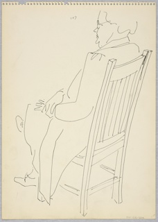 Sketch of a woman with glasses seated in a straight-backed chair, facing left.