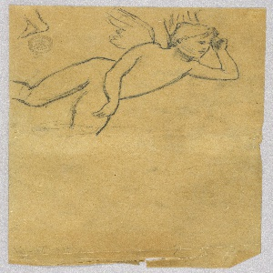 Top left: oblique three-quarter winged figure, leaning on the left elbow and the left knee, which is not shown. Left top corner: a foot.
