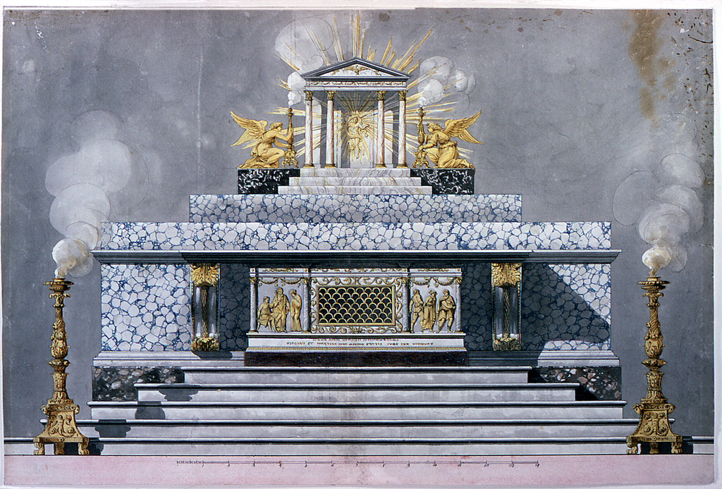 "Design for an altar.  The sepulcher has the shape of the front of a late classical sarcophagus, the center part of which consists mostly of an opening which is closed by a grating formed by half-circles. Laterally are reliefs.  At left, the condemnation of the Virgin by the praetor; at right her abduction. In the base in an inscription of which only part of the words are intelligible. They are in the second line: ""VIRGINI ET MARTIRI...ANNO ETATIS SVAE IXX...Behind are three large steps, the uppermost serves as a base for the tabernacle, and two kneeling angels beside it who support burning candelabra, through standing. The tabernacle has the shape of a temple front, with Christ rising in a glory, from the door. Two candelabra with burning flames standing laterally in front of the altar.   Scale: at bottom, in pen and black ink"