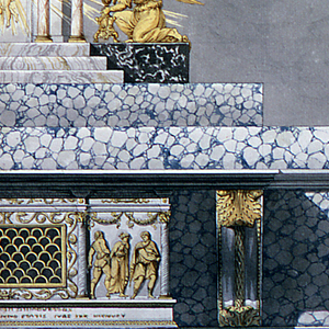 """Design for an altar.  The sepulcher has the shape of the front of a late classical sarcophagus, the center part of which consists mostly of an opening which is closed by a grating formed by half-circles. Laterally are reliefs.  At left, the condemnation of the Virgin by the praetor; at right her abduction. In the base in an inscription of which only part of the words are intelligible. They are in the second line: """"VIRGINI ET MARTIRI...ANNO ETATIS SVAE IXX...Behind are three large steps, the uppermost serves as a base for the tabernacle, and two kneeling angels beside it who support burning candelabra, through standing. The tabernacle has the shape of a temple front, with Christ rising in a glory, from the door. Two candelabra with burning flames standing laterally in front of the altar.   Scale: at bottom, in pen and black ink"""