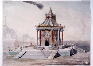 Design for a gazebo.  The octagonal pavilion stands on a square platform, to which steps lead on every side.  The pavilion has a dado.  Columns support the entablature; their capitals are connected by festoons.  Statues stand in the intercolumnar spaces.  The walls of the pavilion and the slanting roof show Gothic details.