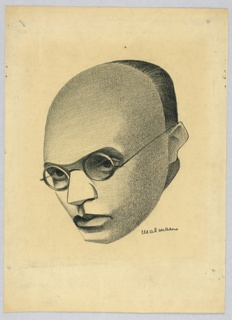 Vertical rectangle. Head of a man, turned slightly to the left. He wears almost rimless glasses, with dark shadows beneath. He is bald to the back of his head, making a line with his ears, giving him a mask-like appearance.