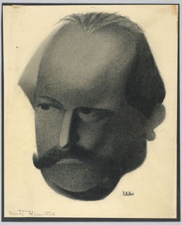 Vertical rectangle. Very dark head of an older man, with a thick black mustache. His gaze directed slightly to the left.
