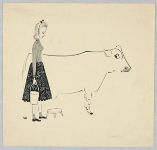 Horizontal rectangle. Cow outlined in black. Girl stands at left, in a gray sweater and black shit. A pail in her hand and a stool beside her.