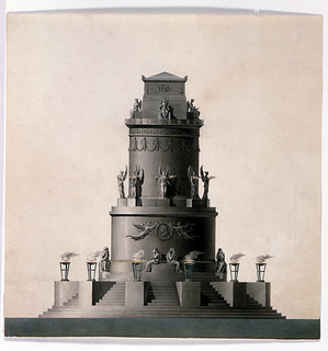Elevation of a free-standing circular monument, positioned at the center of the sheet.  The monument stands on a circular base and is reached via steps.  The pedestals projecting from the stairs carry burning candelabra.  The monument itself is comprised of three parts: cylindrical base, smaller cylindrical mid-section, and rectangular top.  At the first level, two female figures sit on a rectangular pedestal/bench.  Their backs are turned away from each other and hands cover their faces.  Above, on the drum, in relief, two winged figures carry a round medallion decorated with a head in profile.  On each side of the drum (left and right) is a seated figure.  Their heads are covered by the head scarves.  At the monument's mid-section, at the bottom, winged figures stand on pedestals at equal intervals.  The upper portion of the drum is decorated with a festoon ring.  The top of the monument is reserved for the sarcophagus elevated on a high pedestal.  At its base, at the center of each side, sits a female figure in a regal pose.