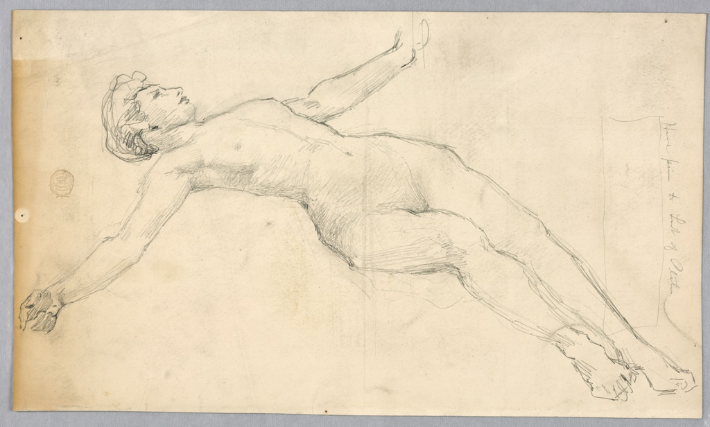Sketch of a nude female figure reclining.