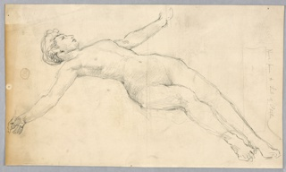 Sketch of a nude female figure reclining.