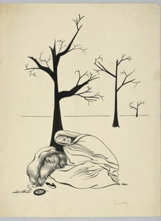 Angular features on the woman in a white robe; bare limbs on three trees in the distance. A shoe, ribbon, portrait, glove, and some cloth beside her.