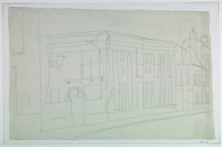 Drawing of sidewalk going along a street of houses.  Attention mostly on house at left that appears to have a gate leading into a courtyard.  Exter has drawn what may be vines or shrubbery all along this house and its fence, but none on the other houses on the street.