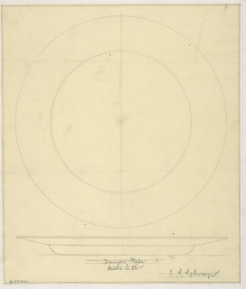 Top and side profile of a design of a dinner plate.