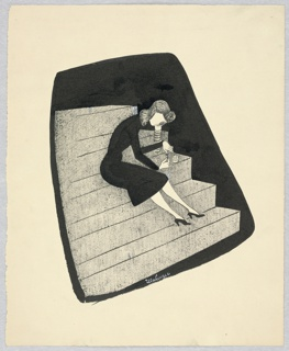 Vertical rectangle. Woman in a black dress, wearing a gas mask and sitting on gray steps. She is bent over to the right, applying nail polish.