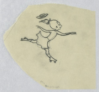 Irregular shape. She moves to the right, with one leg up and out behind her. Her hat flying off the pony-tailed head.