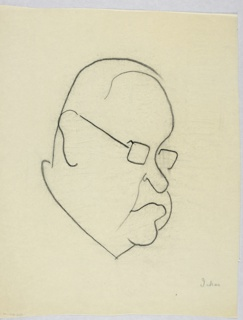 Vertical rectangle. Outline of Harold Ickes's head and features. He looks to the right through glasses with rectangular lenses. A bald head and double chin.