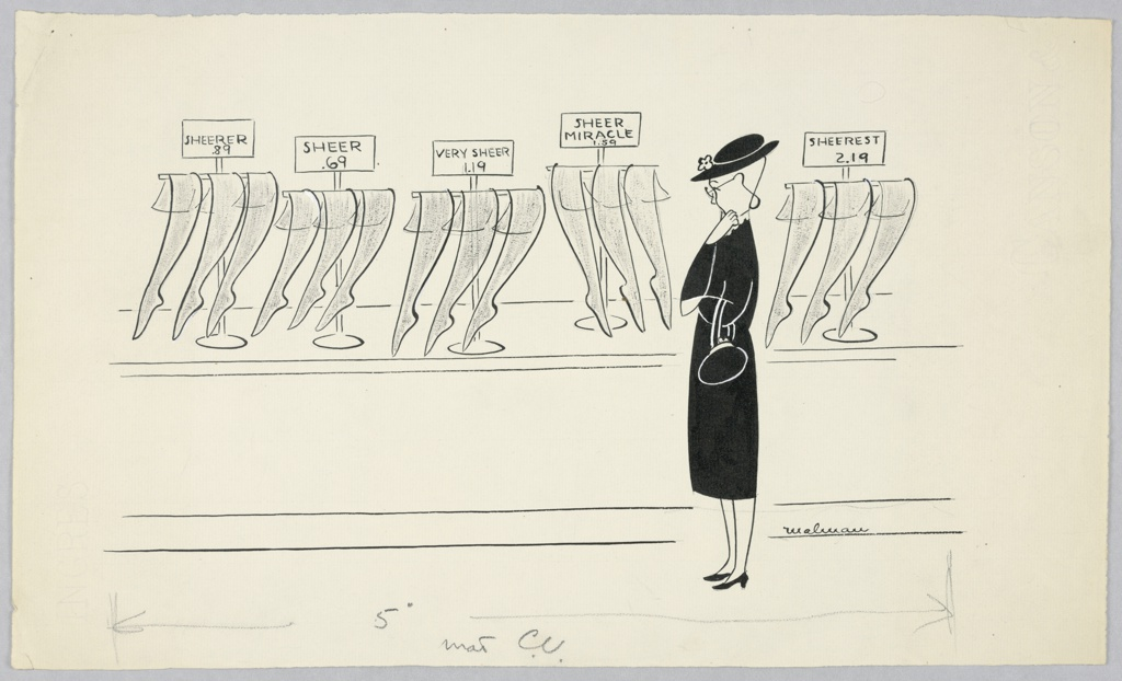 """Woman in a black dress and hat pausing before stockings marked """"Sheer Miracle,"""" right, her hand to her chin. More stockings on counter."""