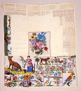 Square sampler with brightly colored glass bead embroidery. The center square, lower third and left edge are beadwork, predominantly in floral and animal motifs. The upper third and right edge are made up of examples of withdrawn element and cut work embroidery patterns. The sampler is unfinished.