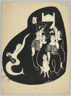 Vertical rectangle. Siren, with a lute, waves to a boy in a black suit, wearing a crown and being carried in a white chair by two men in striped shirts, two women, and a little girl. Black background.