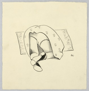 Foreshortened view of a girl kneeling over her drawing on the floor, as her skirt lifts up and her underwear is shown to the viewer.