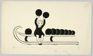 Horizontal rectangle. A little blond girl in a black dress sitting facing front on the rack with bowling balls. One in each hand over her head.