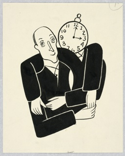 Vertical rectangle. Torso and head of man in black, with lines under his eyes in the embrace of another with an alarm clock in place of head.