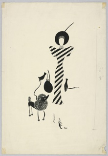 Vertical rectangle. Woman wearing a striped dress, platform shoes, small black gloves, black hat and bag, cigarette holder strolling with a black poodle.