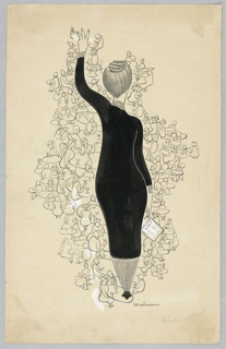 Figure of restaurant hostess in black dress, holding a drink list, and three fingers up seen from behind, most prominent. She stands on a small table, and is surrounded by others in outline at tables.