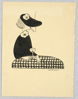 Woman in black dress and hat seated left, behind a table with checkered cloth. A cigarette in her mouth and martini on the table.