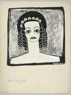 Vertical rectangle. Bust of Joan Crawford, facing frontally. Her shoulders are bare; she wears a round black hat with white flowers over her hair which is in ringlets. Her eyes wide open. In a black rectangle with white smeared over it for a ground.