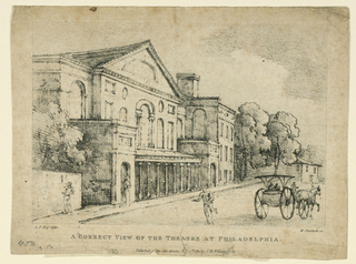 Horizontal rectangle. Oblique view. A carriage is shown on the street. Caption: A. P. Esq. delin, W. Sherlock sc/ A CORRECT VIEW OF THE THEATRE AT PHILADELPHIA. Published [as] the Act directs July 1st, 1811, by J.M. Williams.
