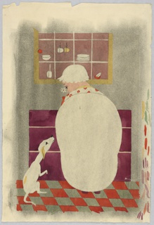 Vertical rectangle. Large white indented oval forms the woman's back. Her head, with a white cap, is turned to her dog, white and yellow, at the left. The cupboard above, and checkered floor, below. Splashes of color, right.