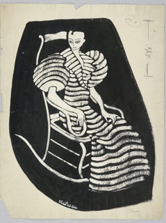 Vertical rectangle. Woman in fur, or striped robe, in a rocking chair, her body facing right, her hand to the left front. Black background.