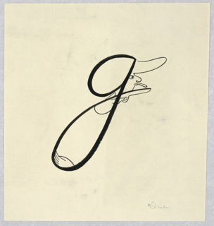 Letter G written in large script. The right of the upper, a man's face, looking right. In the lower loop, two hands, the upper one with a gun.