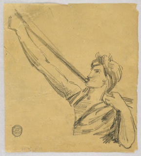The upper part of an angel is shown, turned toward left. He blows a trumpet, supported by his extended right arm. The left hand lies upon the shoulder.