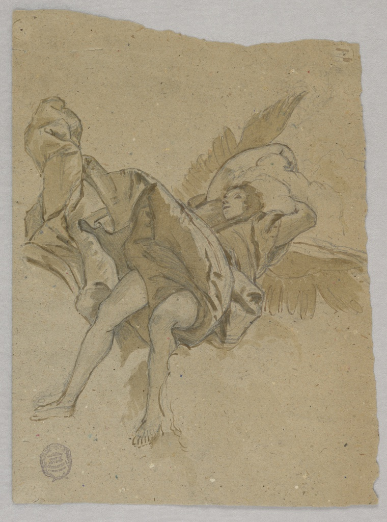 Winged figure shown from feet, on clouds, recumbent and sleeping. The wind blows the drapery upward.