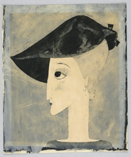 Vertical rectangle. Woman's head seen in profile, facing left. Her hair pulled tightly up under a black hat with a bow at the back. Gray background.