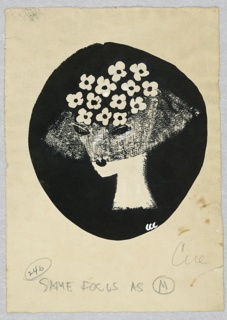 Woman's head in black oval. She wears a black hat trimmed with white flowers and a veil.