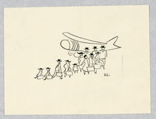 Horizontal rectangle. Twelve people, three of them children, disembarking from an airplane, behind them.