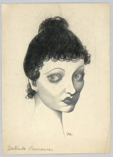 Vertical rectangle. Head of a woman, looking over her right shoulder to face frontally. Her black hair on top of her head, with ringlets.