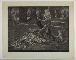Outdoor scene, with children at play in the foreground. A boy, on a hobby-horse, wears a paper hat and sheathes his toy sword while three others lie on the ground on either side. Two of the children are covered by animal skins. At upper left, a woman sits beneath a tree, sewing. Trees in background.