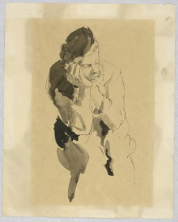 Vertical rectangle. Seated figure facing front; his elbows on his knees and head turned to the right, supported in his hands. Outlined with pen; with gray washes.