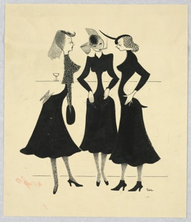 Three women in black dresses, black hats with veils and dark stockings, stand facing each other before a bar with one glass on it, left.