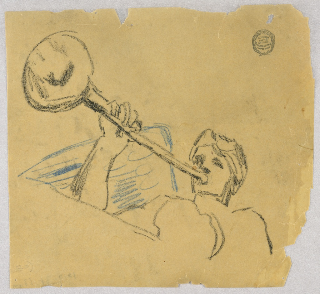 Winged figure blowing a trumpet, directed toward left. The bust, the head, parts of the right arm, the right wing are shown.