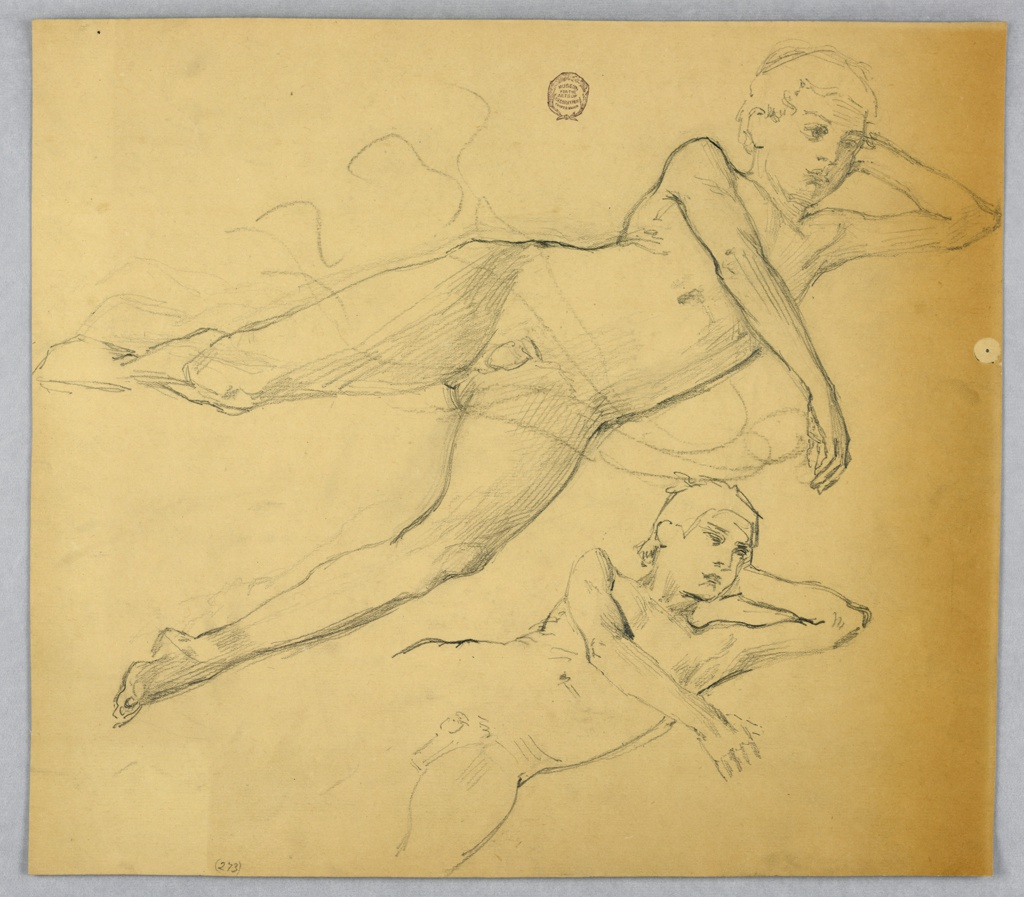 A boy is shown lying on his left side and leaning on his left elbow. The right arm crosses the breast. The legs are spread. The upper part of the body in a slightly different pose is shown at the bottom. Verso: traced outlines of the full figure design.
