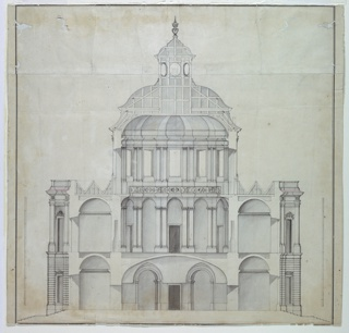 Vertical rectangle. A two-storied structure, showing the vaulted entranceway on the ground level and the Kaisersaal rising two stories, above, breaking the roof-line with a low dome on a high drum, pierced by windows. Scale given at sides. Ink framing lines.