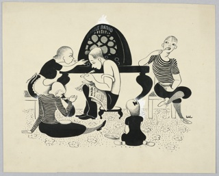 Horizontal rectangle. Radio, center, on the table. Mother, left, seated on a chair, and one son, right. Father seated on a stool, center, with the newspaper and two other children on the rug, all eating.