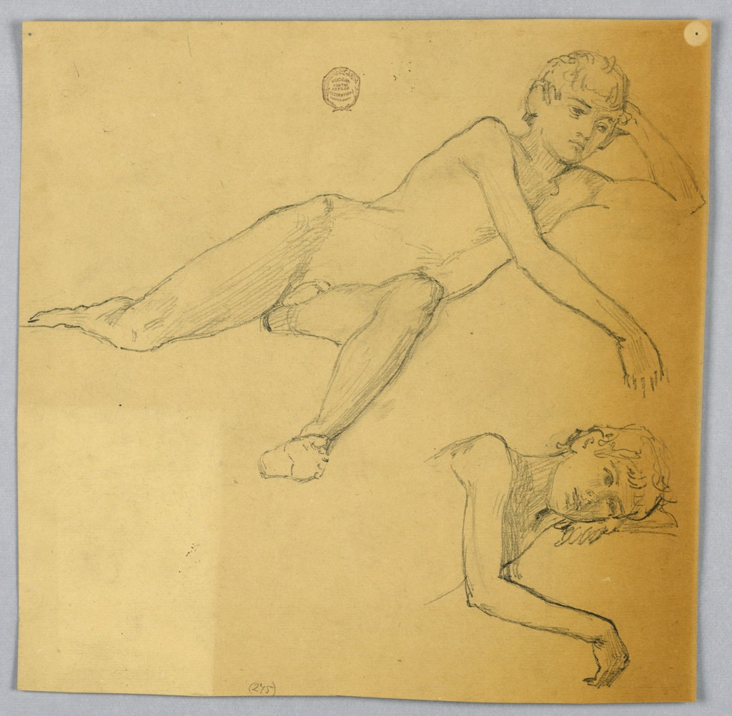 Top: The boy is shown laying on his side, the left leg bent and foreshortened. Bottom right: Bust with arms, the head lies on the left forearm and hand.