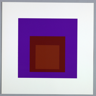 Portfolio plate, square format. Group of three graduated opaque concentric squares in shades of red and purple, each placed near the bottom of its surrounding square. Arrangement placed at the center of a square white sheet.