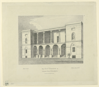 Horizontal rectangle. Oblique view of the facade with two groups of people upon the sidewalk in front of it, three are beside the upper right corner. Caption: built 1822 The New Theatre in / Chestnut Street / Philadelphia / Published by Wm. Birch 1823. Taken down 1856.