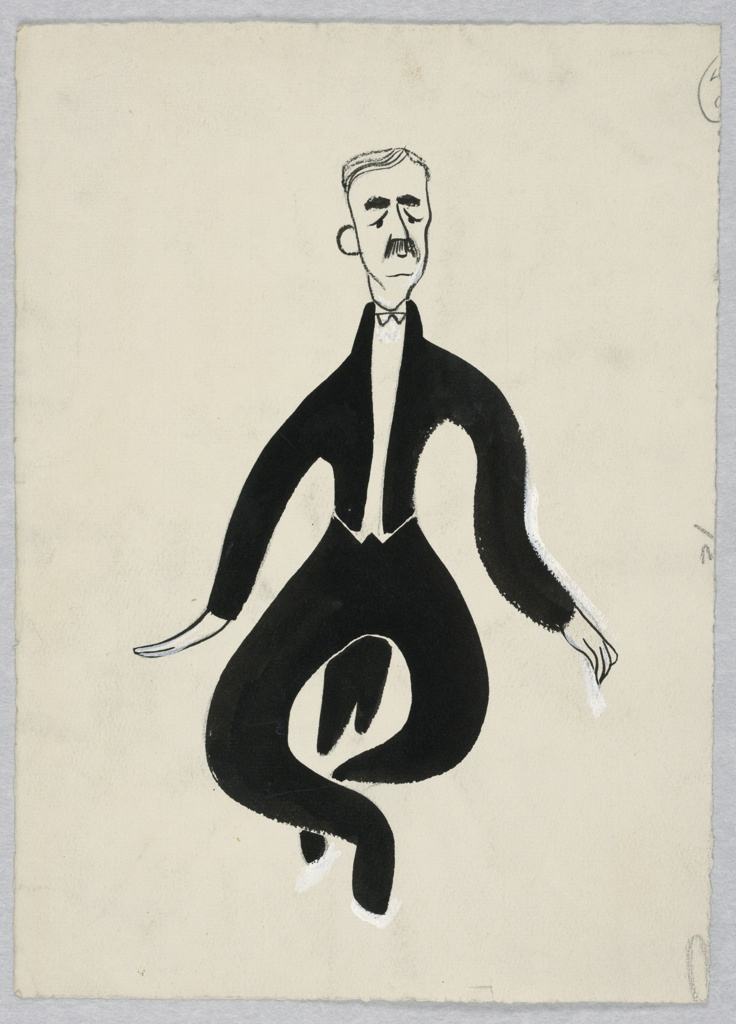 Man with a black mustache wearing a formal suit with white tie and tails dancing, facing frontally with both legs bent and crossed at the ankles.